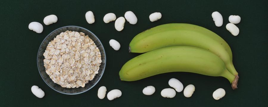 Gröna bananer, bönor och havre innehåller resistent stärkelse