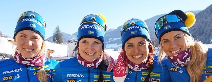 Felicia Lindqvist, Johanna Skottheim, Bettan Högberg och Ingela Andersson, skidskytte